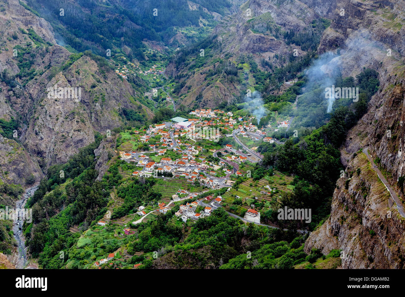 Madeira Portugal looking down into the village of Curral das Freiras also known as Nuns valley - Stock Image