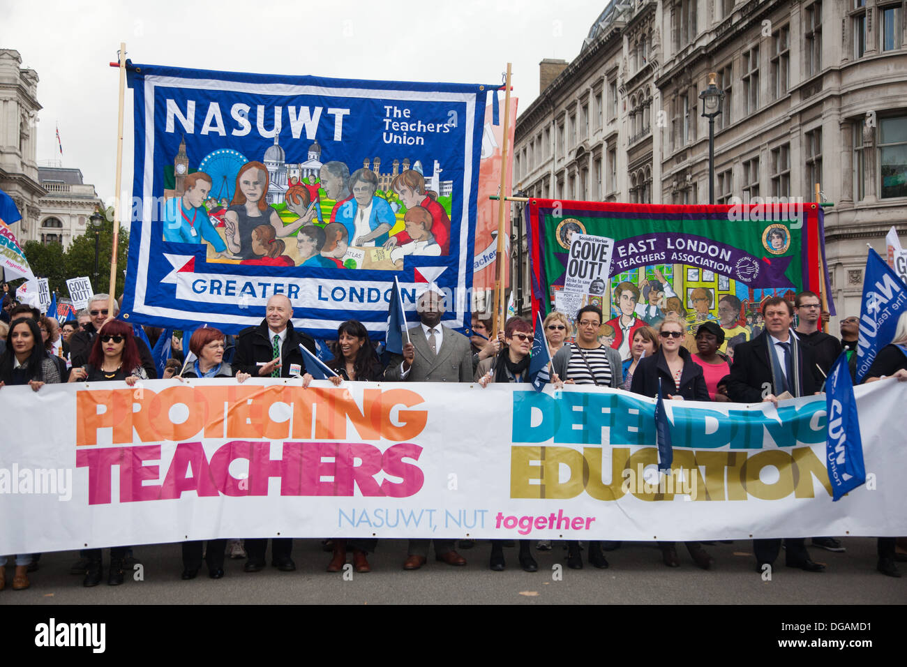 The march went under the parole: Protecting teachers. Defending Education. The march comes out of Whitehall into Parliament Sq. - Stock Image
