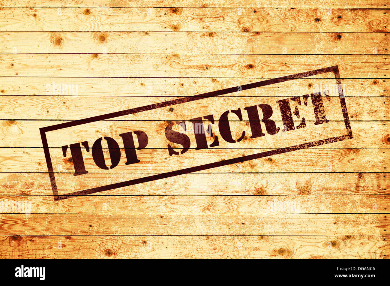 Top secret stamp on wood texture background Stock Photo