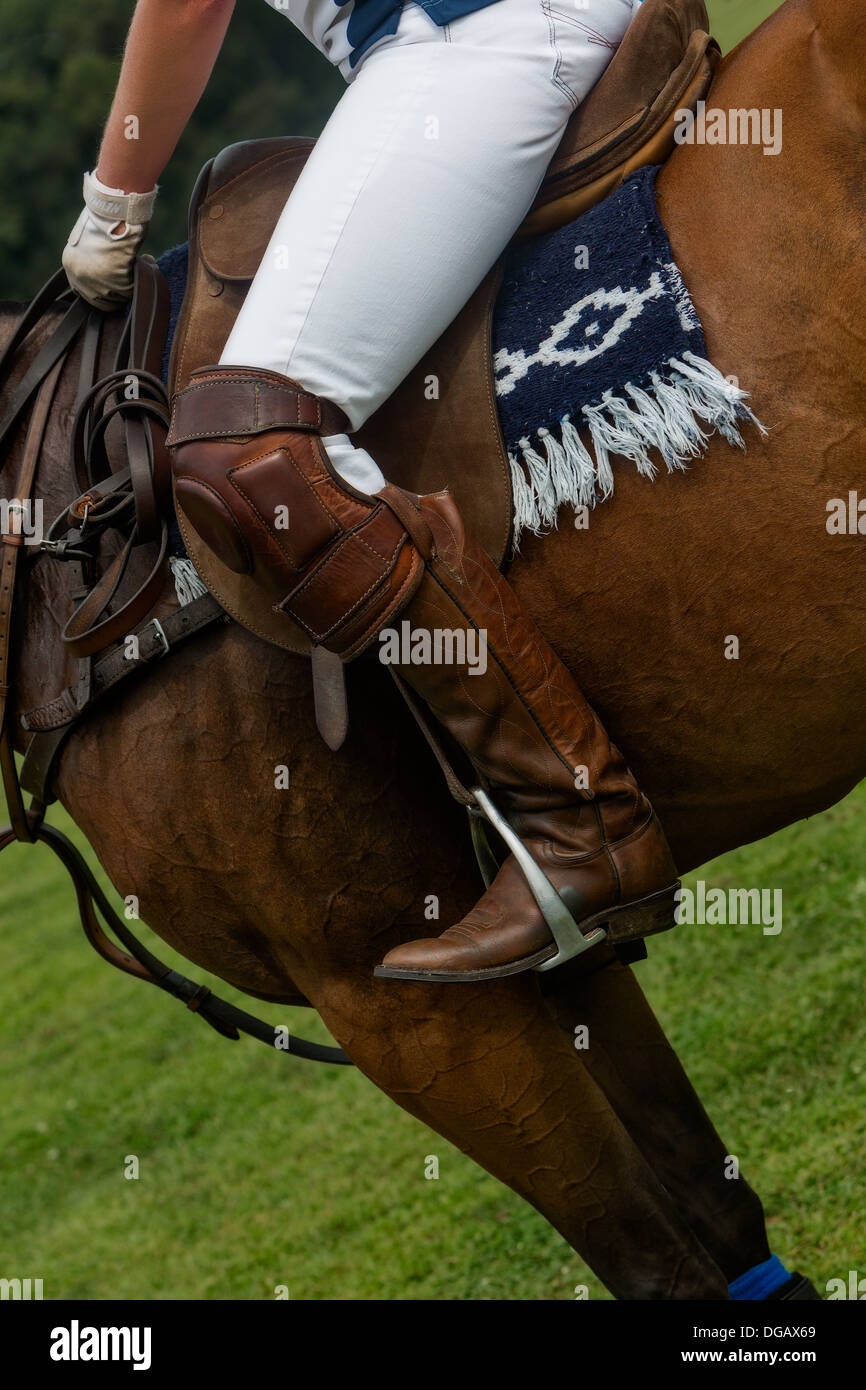 A close details look at a Polo Player riding with horse. - Stock Image