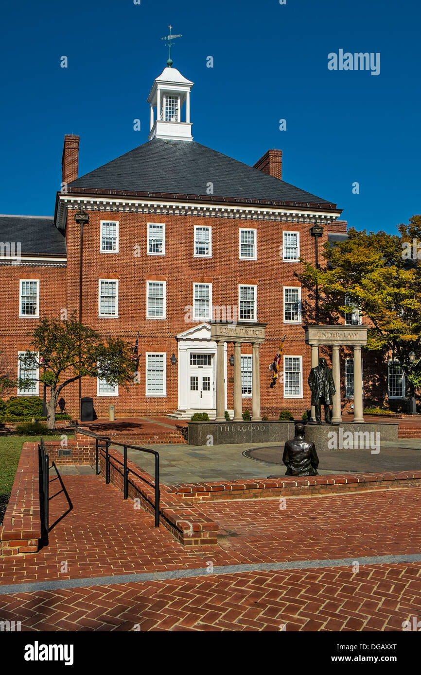 Thurgood Marshall memorial on Lawyers' Mall, also known as State House Square, in Annapolis, Maryland. - Stock Image