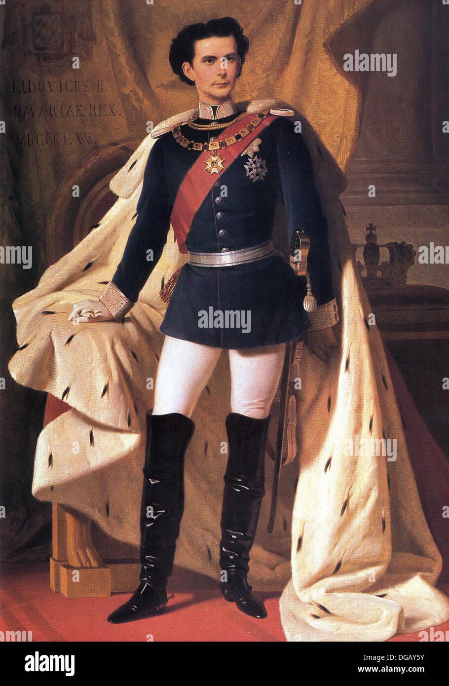 King Ludwig II of Bavaria in generals' uniform and coronation robe - Stock Image