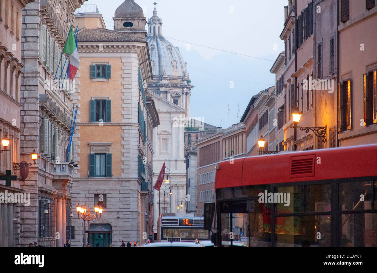Central Rome at dusk - Stock Image