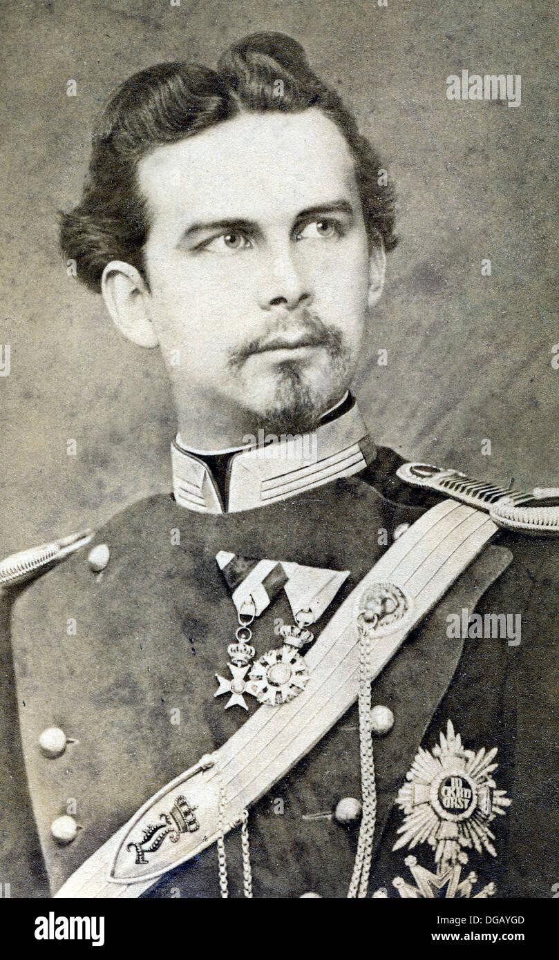 King Ludwig II Bavaria. Portrait of King Ludwig II of Bavaria - Stock Image