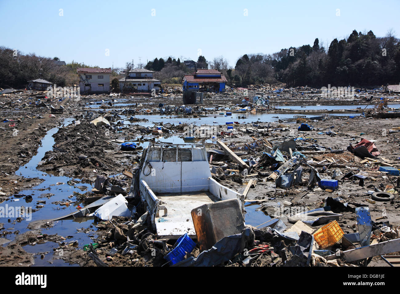 Japan, Fukushima prefecture, Soma-shinchimachi, the area was destroyed by the tsunami on March 11th, 2011 - Stock Image