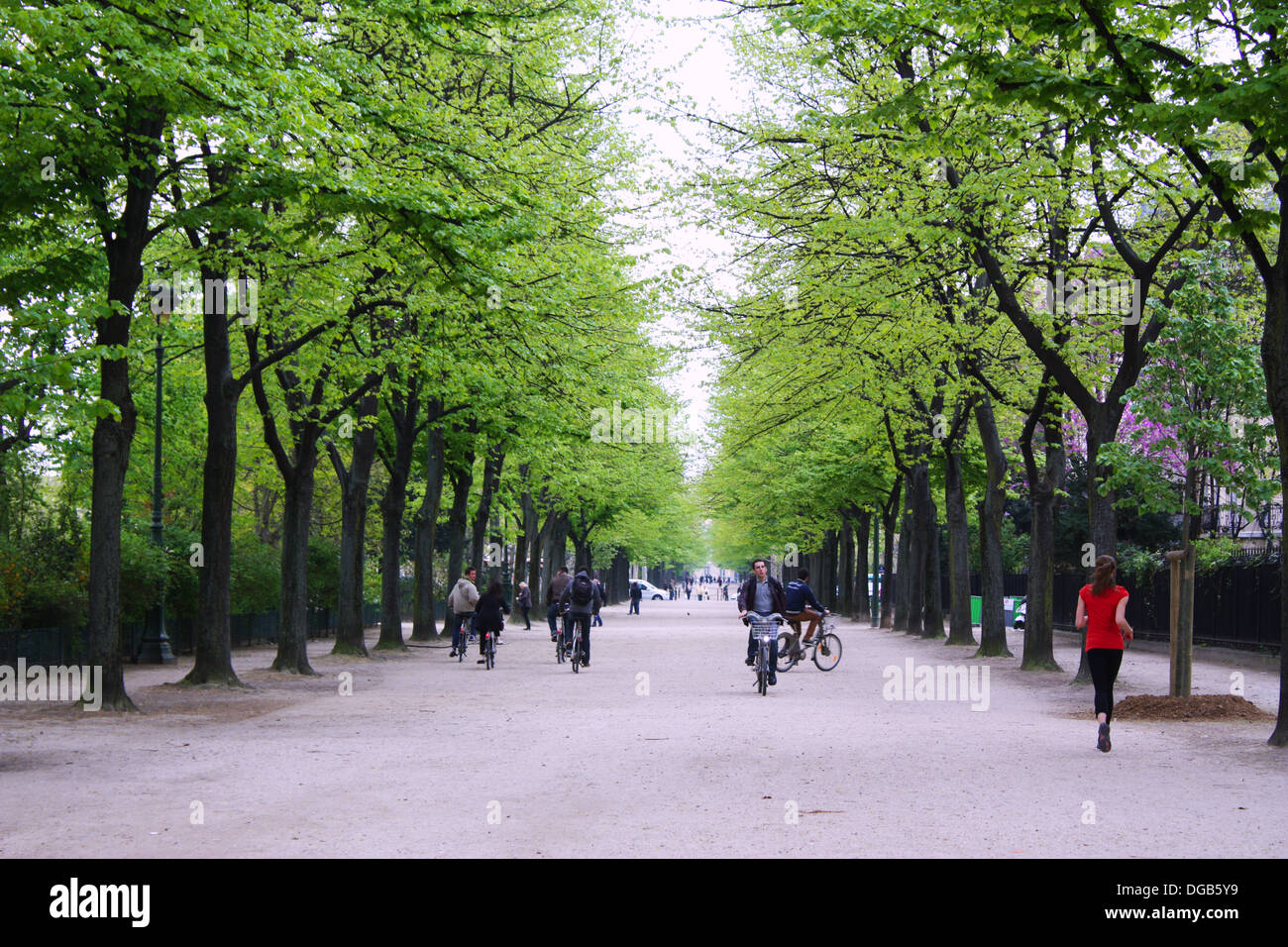 People on bikes in a park in Paris, France Stock Photo