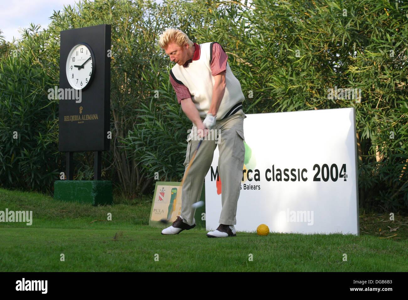 Boris Becker playing golf in Majorca´s Pula golf, Spain - Stock Image