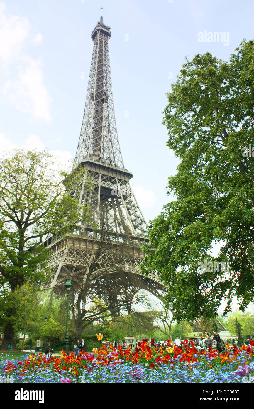 Famous Eiffel tower in Paris, France in spring season Stock Photo