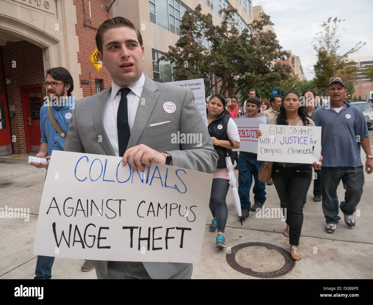Washington DC, USA . 17th Oct, 2013.  George Washington University students, workers and employees protest alleged Stock Photo