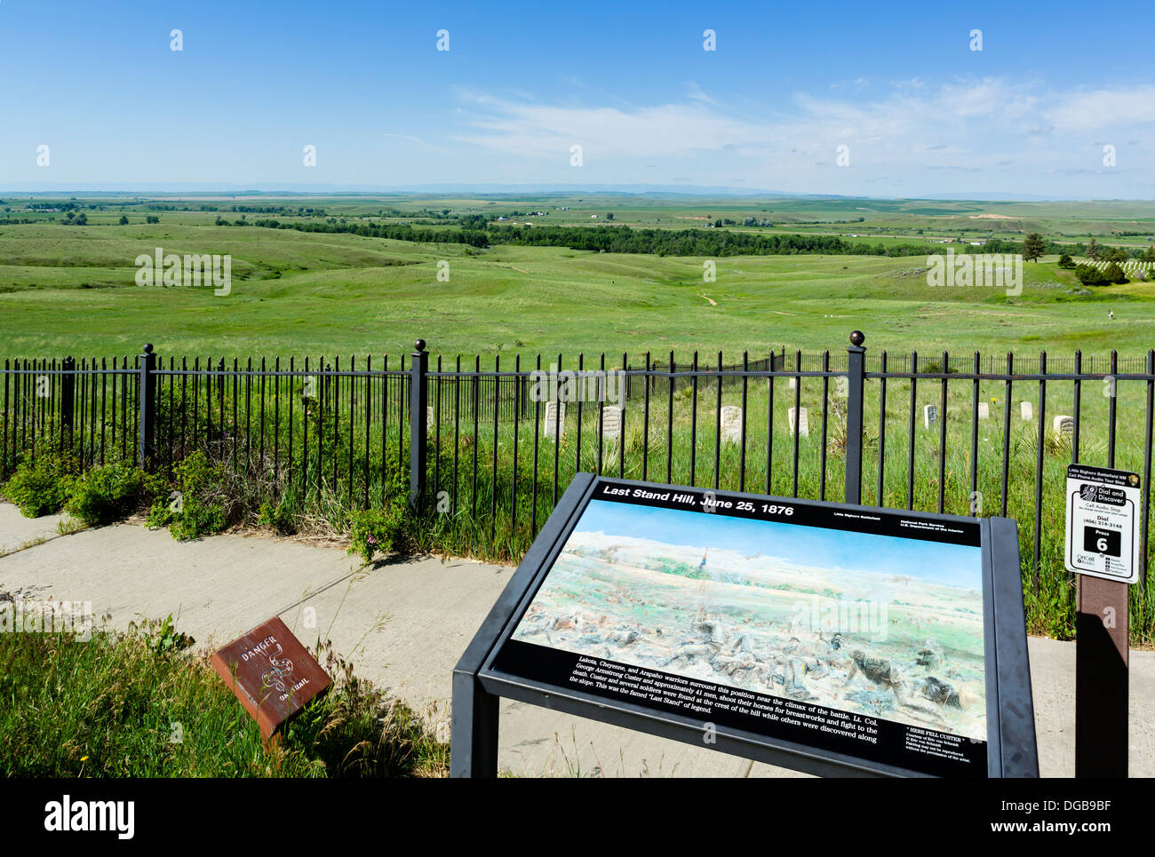 View from the 7th Cavalry US Army Memorial on Last Stand Hill, Little Bighorn Battlefield National Monument, Montana, Stock Photo