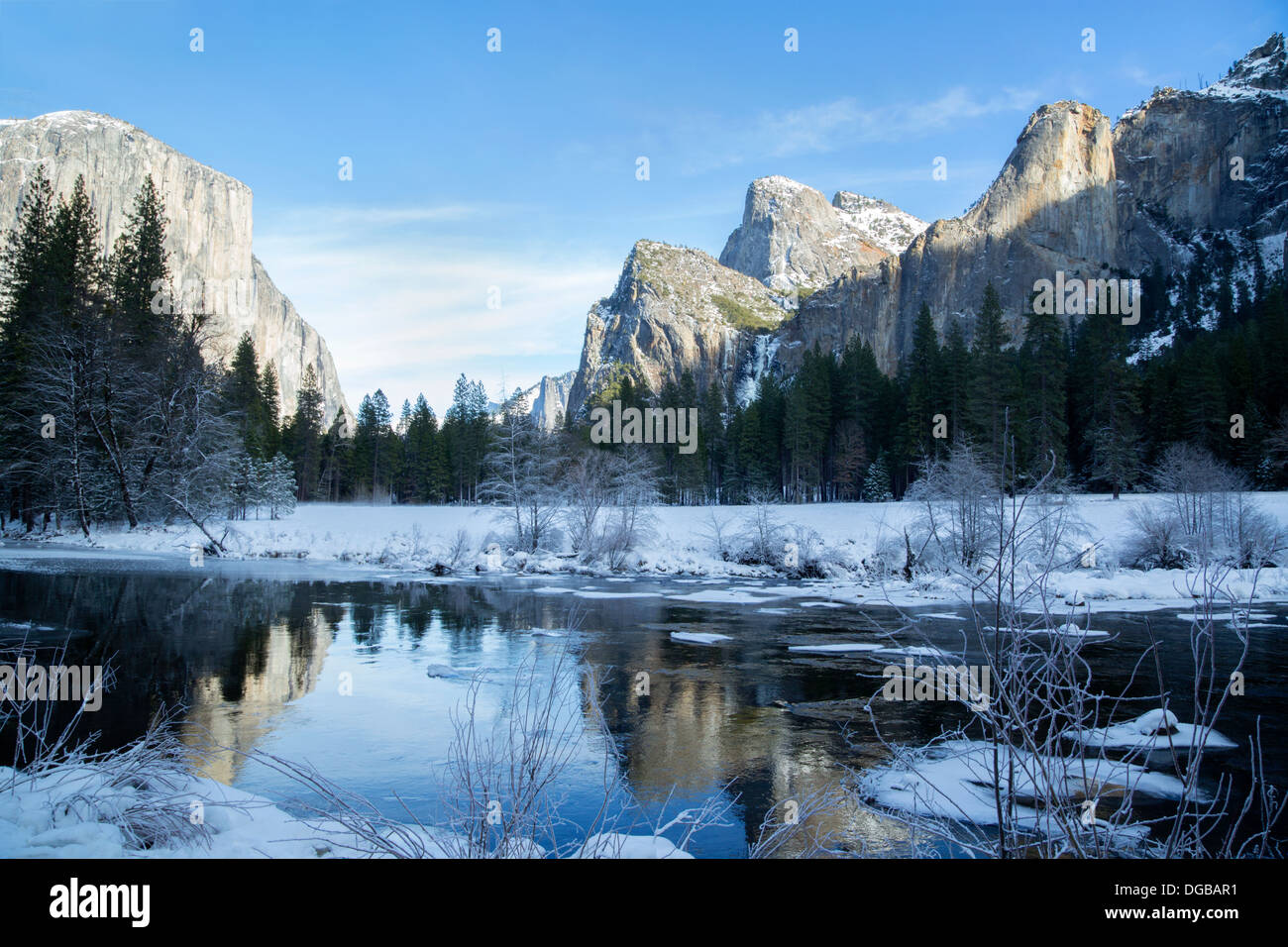 Yosemite Valley in wintertime, California - Stock Image