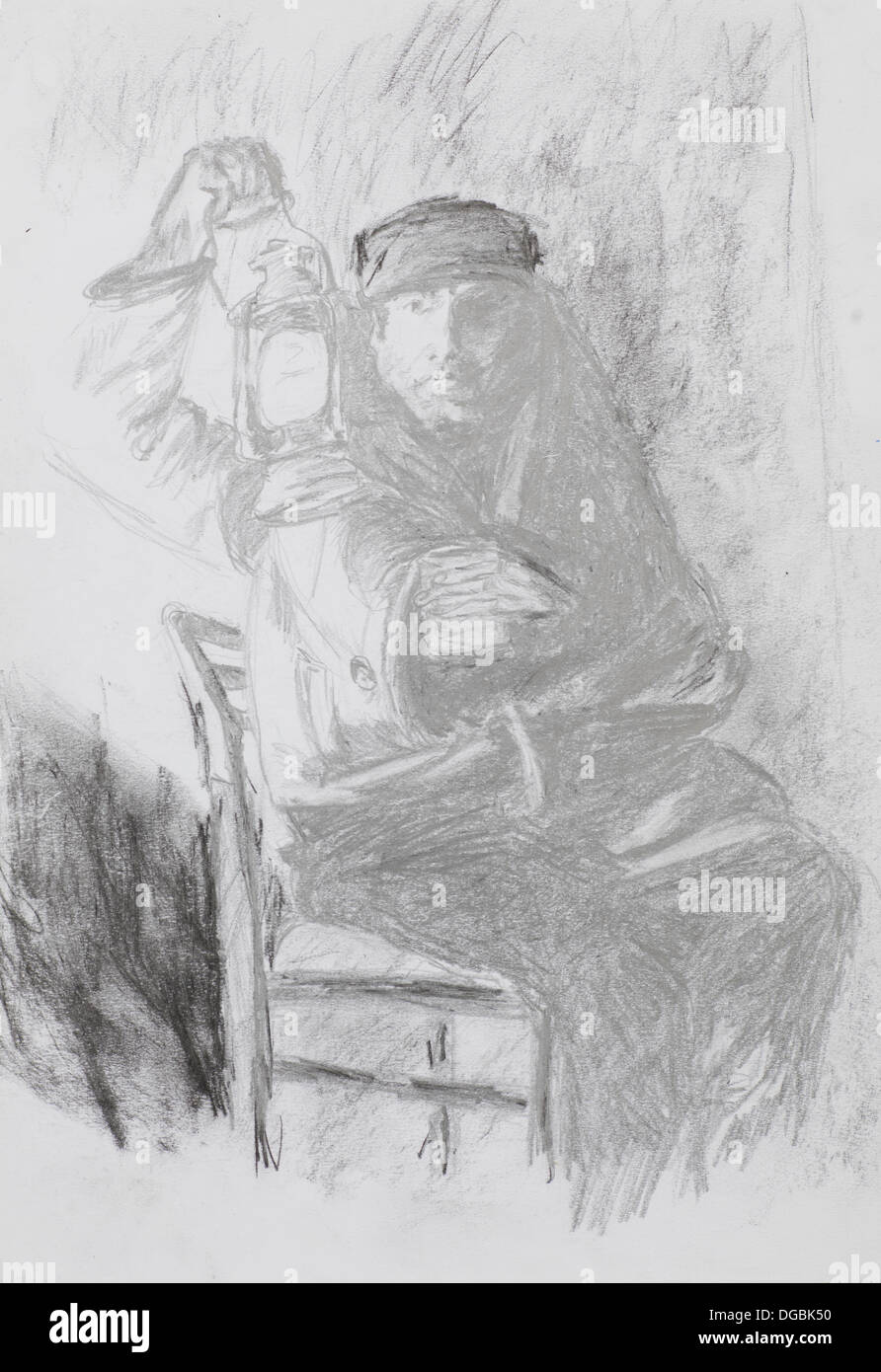 Hand Drawn Sketch Of Man Sitting On A Chair And Holding Vintage Lantern Pencil Technique