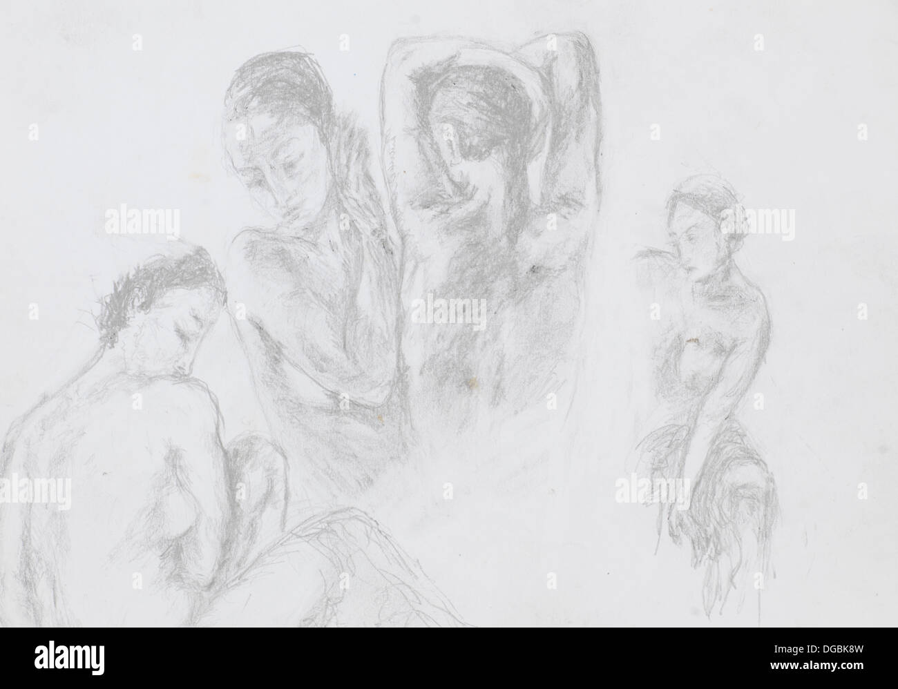 Hand drawn illustration of group of naked women pencil technique