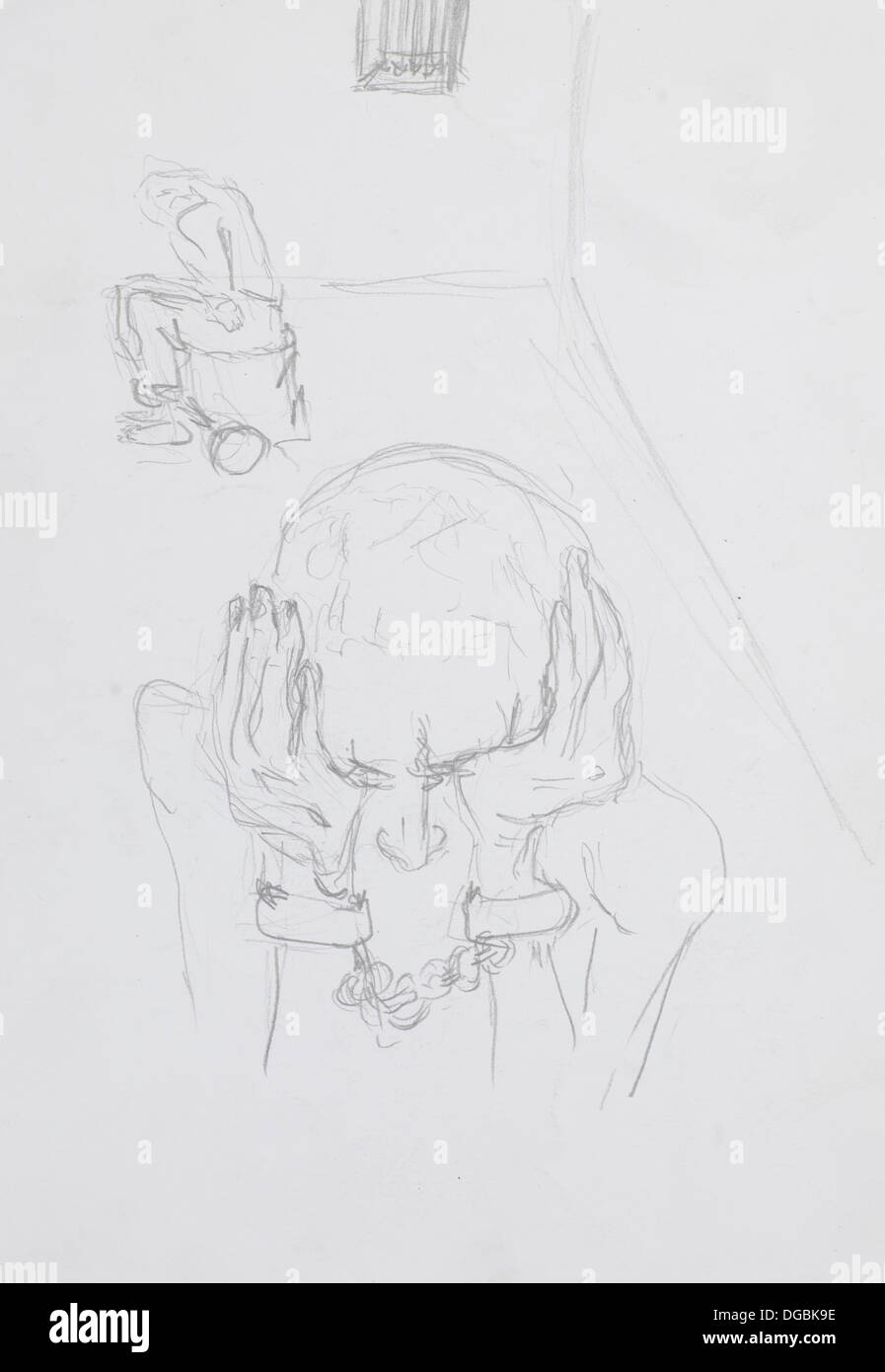 Hand drawn sketch of desperate imprisoned man with handcuffs pencil technique stock image