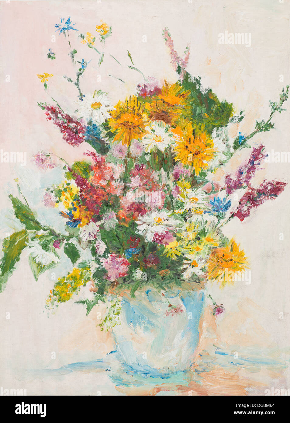 Oil painting illustrating beautiful flower bouquet in glass vase oil painting illustrating beautiful flower bouquet in glass vase izmirmasajfo