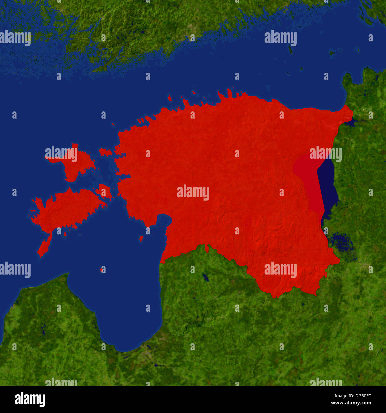 highlighted satellite image of estonia stock image