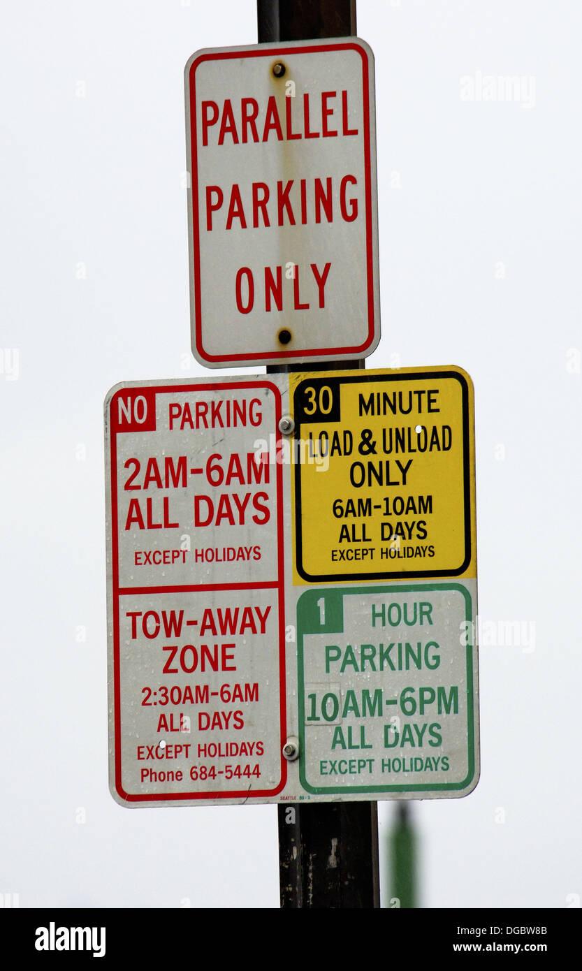 Confusing Parking Signs Seattle Washington USA