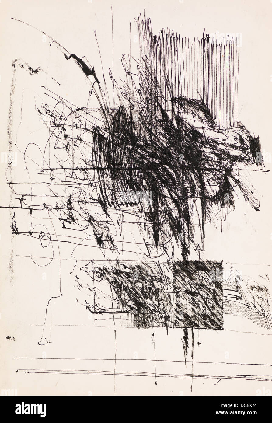 abstract black ink illustration on old paper stock photo 61727656