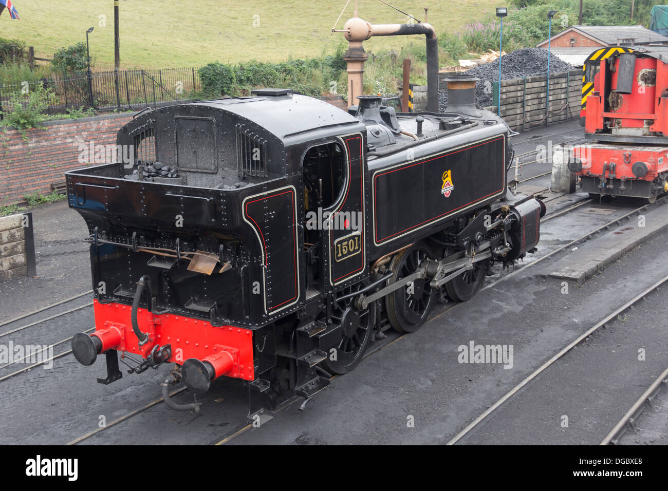 Preserved steam engine pannier tank 0-6-0  No. 1501, standing in the station yard at Bridgnorth, Severn Valley Railway. - Stock Image