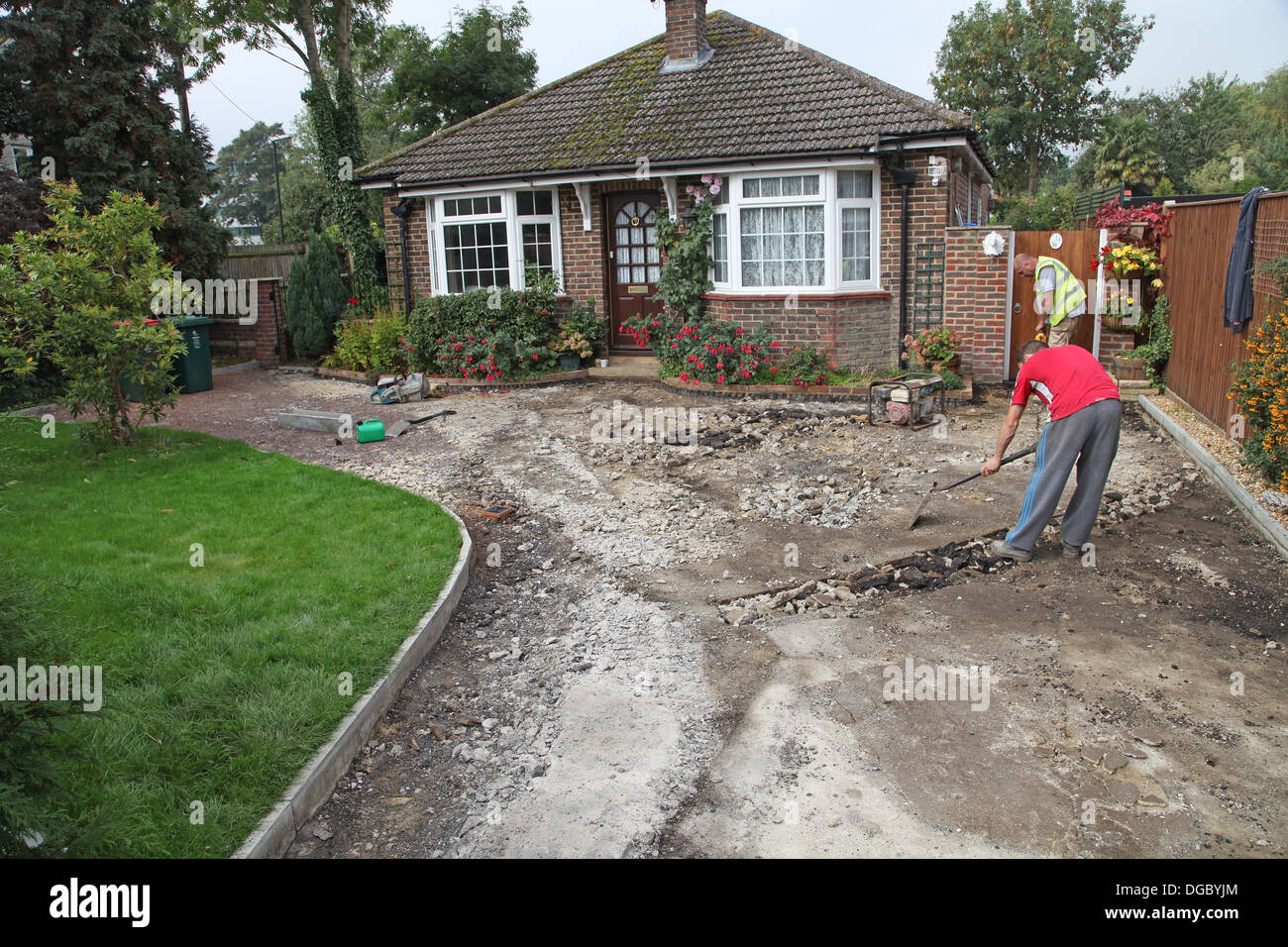 Stage 1 of a project to build a block paved drive.Preparing base. - Stock Image