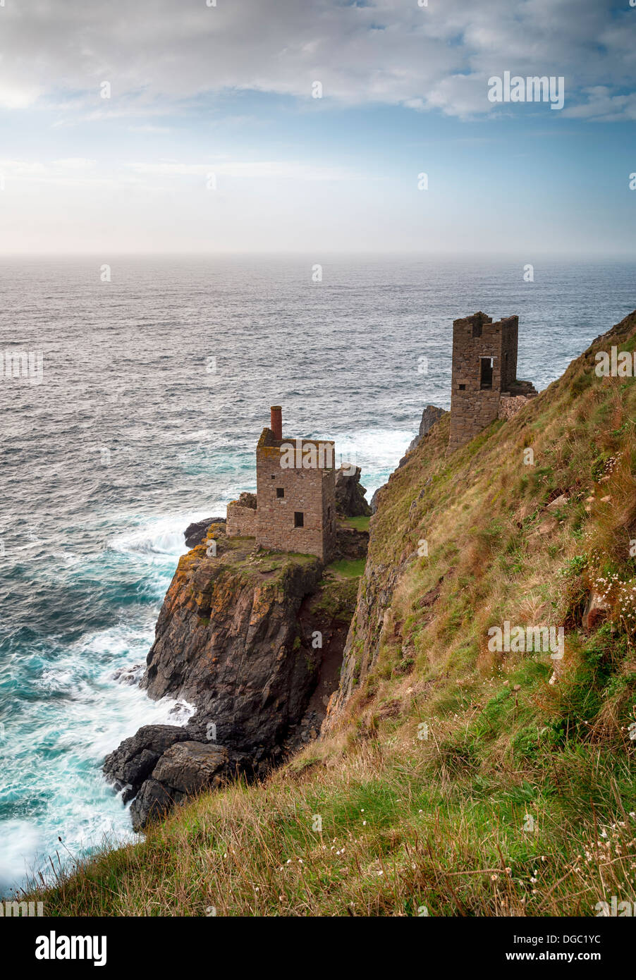 The Crowns at Botallack near Lands End in Cornwall, iconic ruins left over from the Cornish tin mining industry and now a world - Stock Image