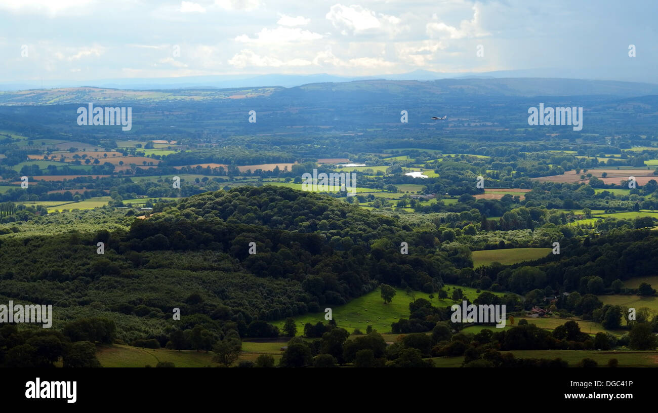 Looking west from Malvern Hills UK towards the Welsh Marches - Stock Image