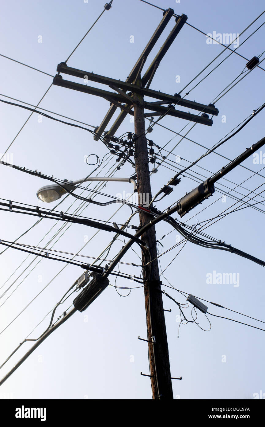 Astonishing Telephone Pole With Wires And Lamppost Stock Photo 61736846 Alamy Wiring 101 Akebretraxxcnl
