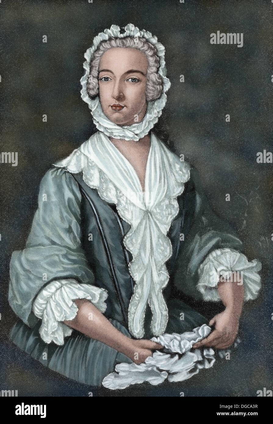 Charles Edward Stuart (1720-1788). Scottish aristocrat. Prince Charles Edward Stuart disguised as Betty Burke, 1747. Colored. - Stock Image
