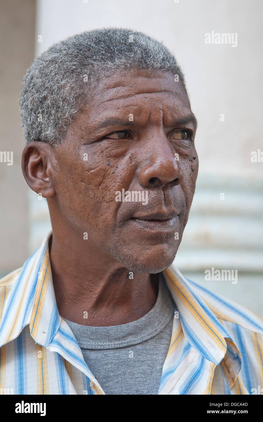 Elderly Cuban Man in Havanna, Cuba. Grey hair Caribean, Latin American, Stock Photo