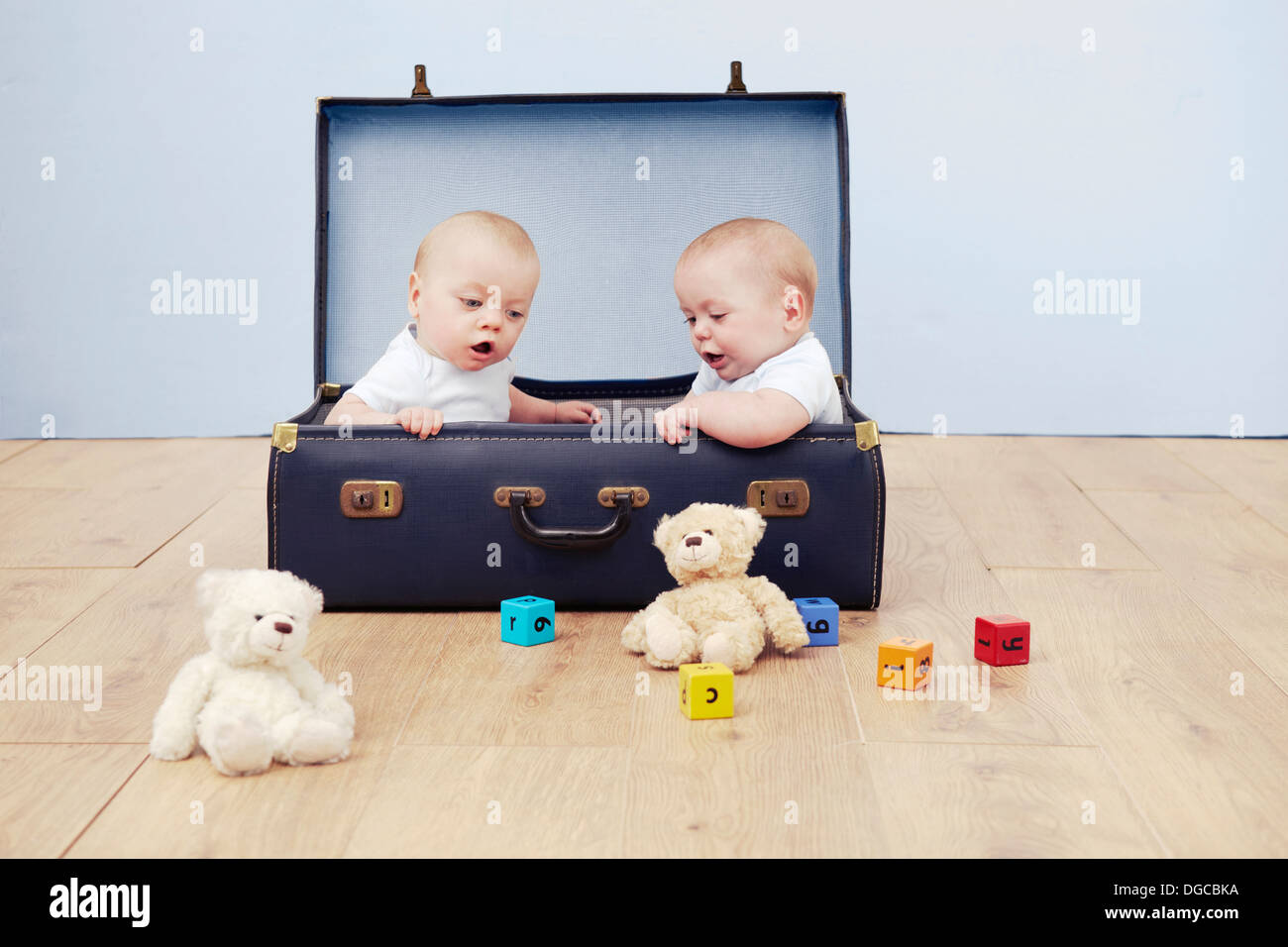 Two baby boys sitting in suitcase looking at toys - Stock Image