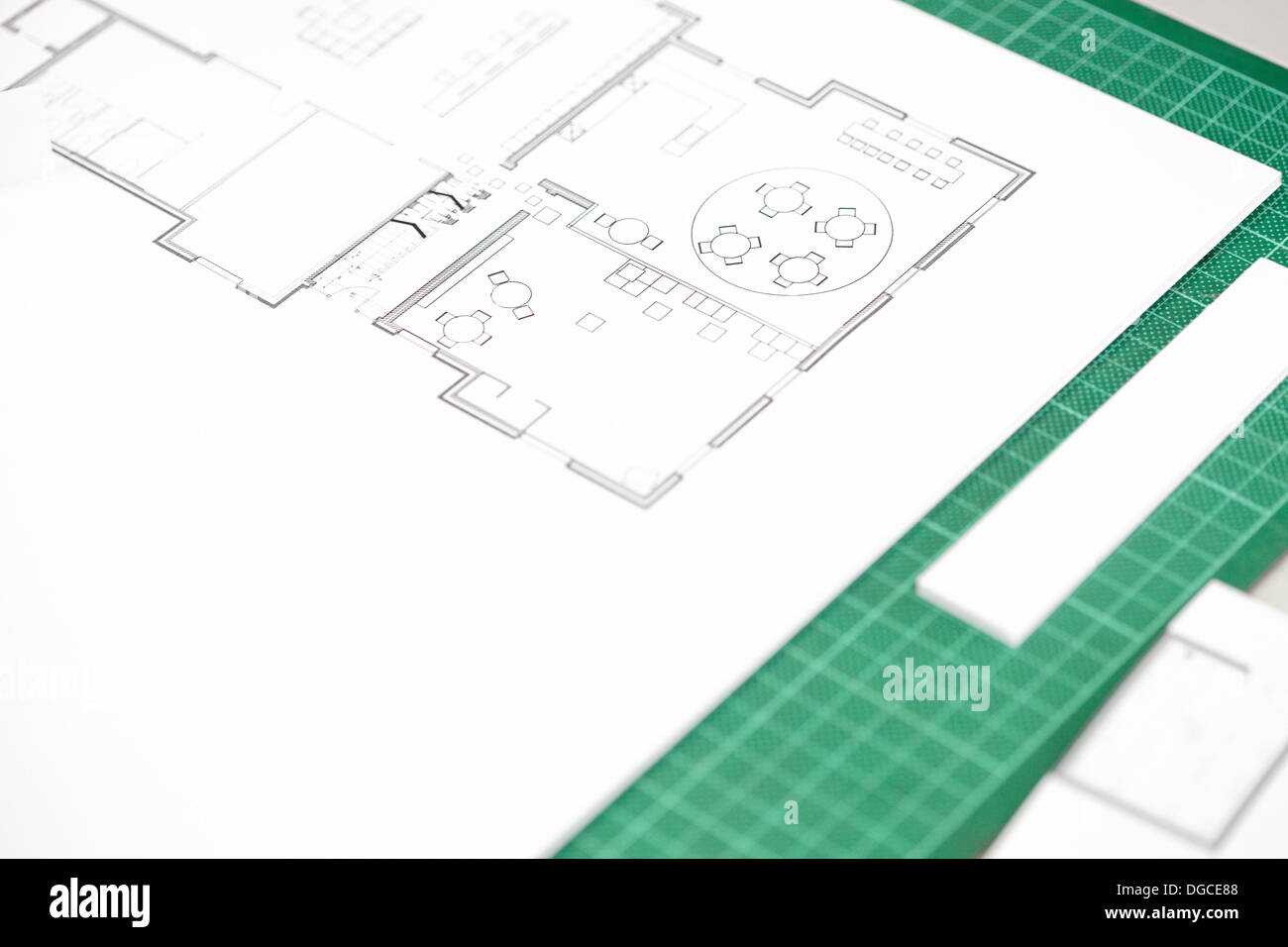 Close Up Of Interior Design Blueprint On Cutting Mat