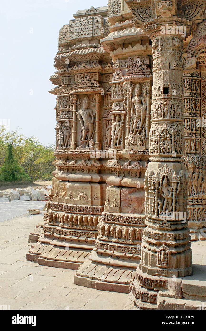 Intricate Stone Carved Pillar And Walls Of Sabha Mandap Depicting Stories From Hindu Epics The