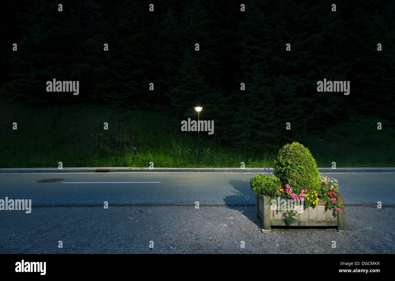 Box of flowers by roadside, Salzburg, Austria - Stock Image