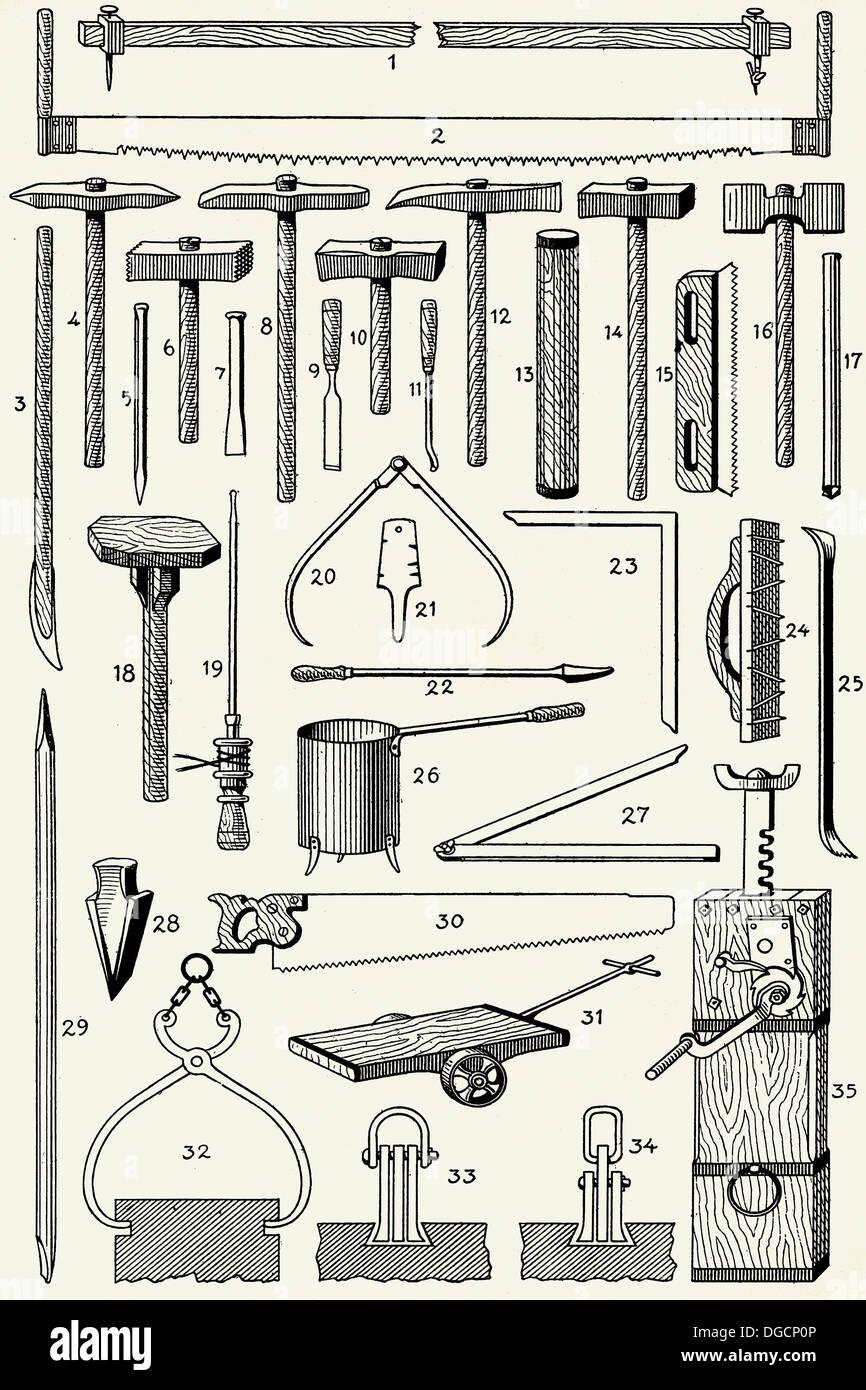 Old quarryman´s tools - Stock Image