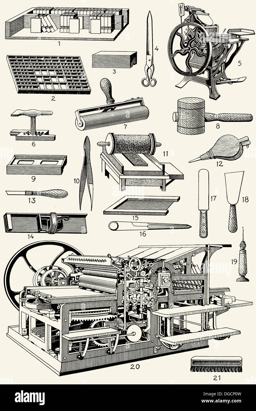 Old typography tools - Stock Image