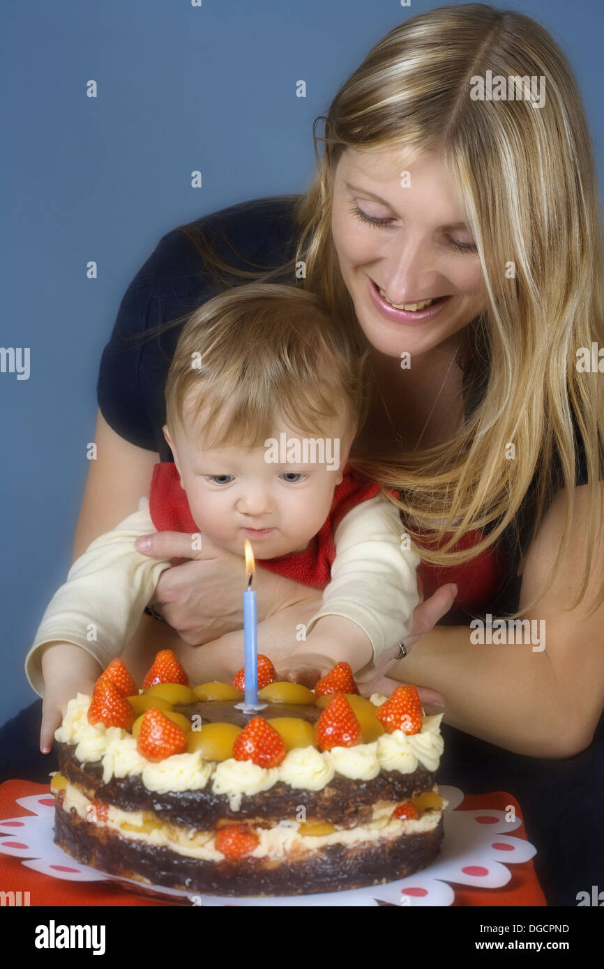 Mother And Baby Boy With First Birthday Cake Stock Photo 61746873
