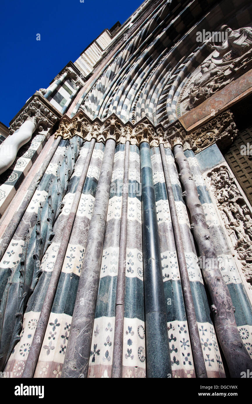 Stonework Details at San Lorenzo Cathedral Genoa Liguria Italy - Stock Image