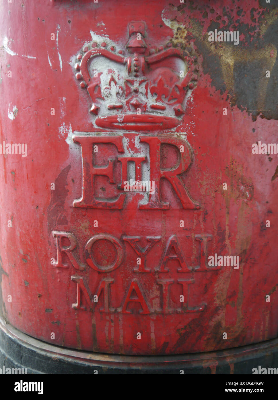 Image of the Royal Mail Logo on a Post Box - Stock Image