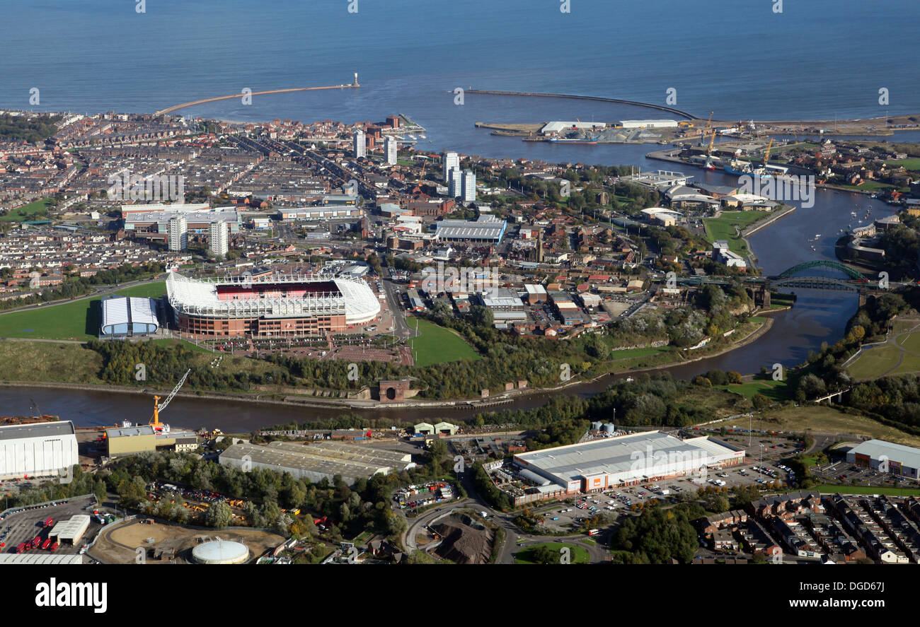 aerial view of the River Wear at Sunderland including the harbour and Stadium of Light - Stock Image