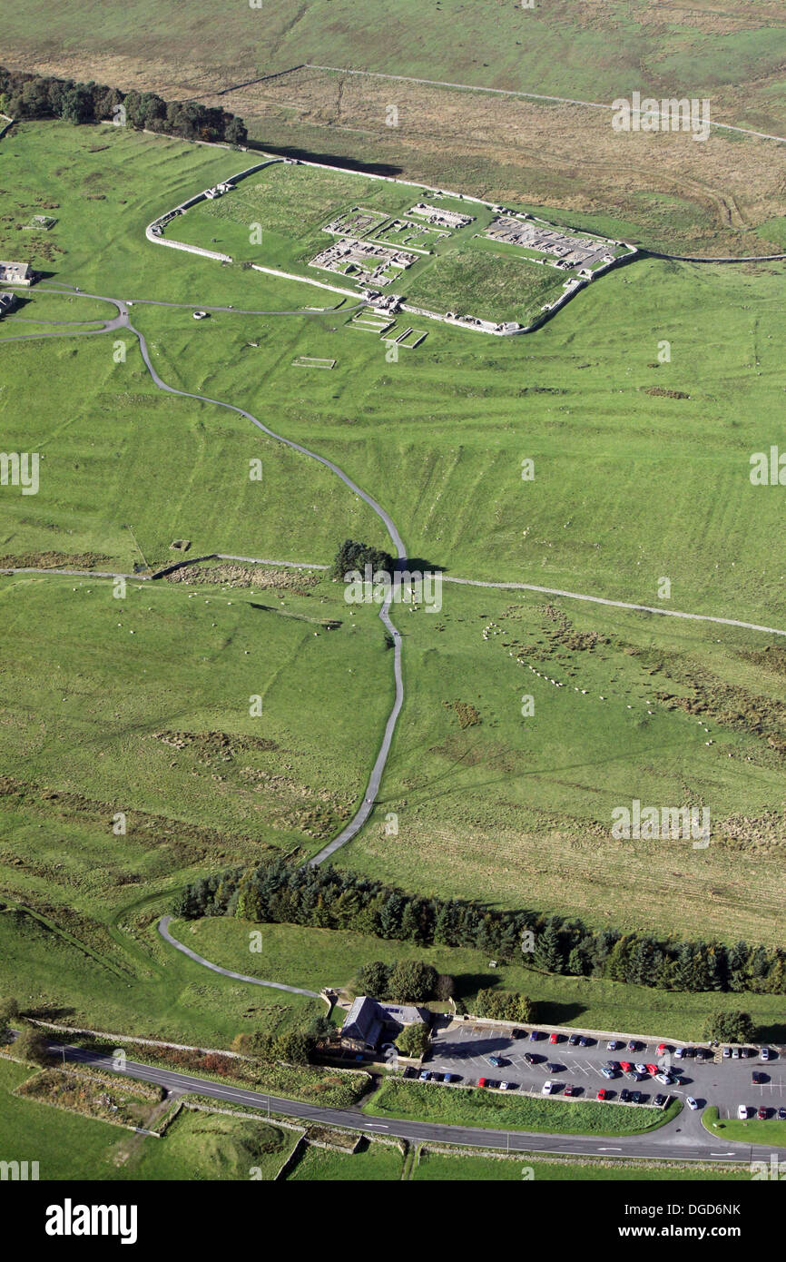 aerial view of Housesteads Fort, the most complete Roman Fort in existence, on Hadrian's Wall near Hexham in - Stock Image