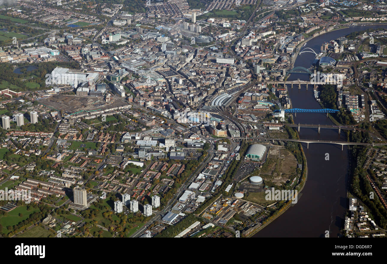 aerial view of Newcastle upon Tyne from 5000' Stock Photo