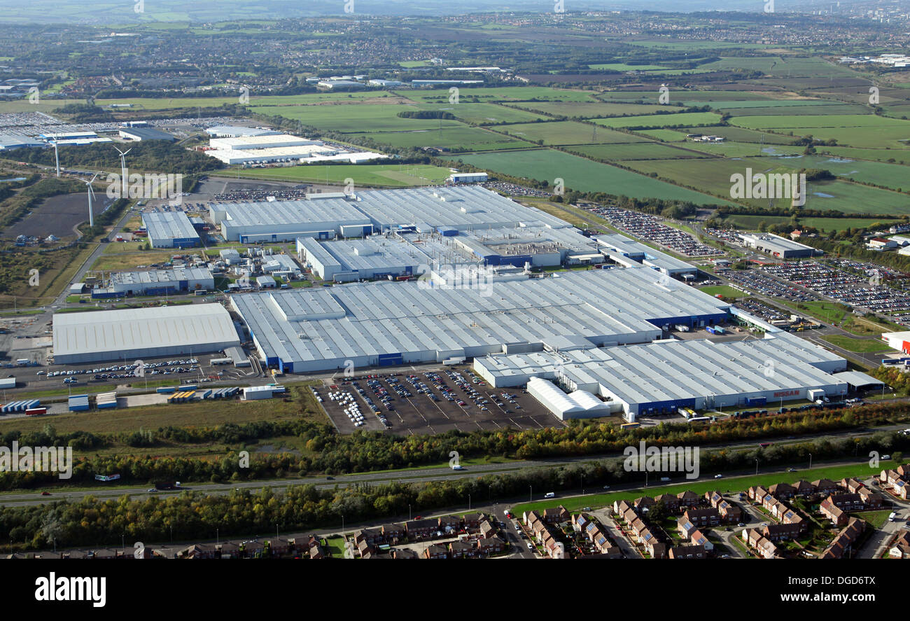 aerial view of the Nissan Car Plant factory at Washington near Stock
