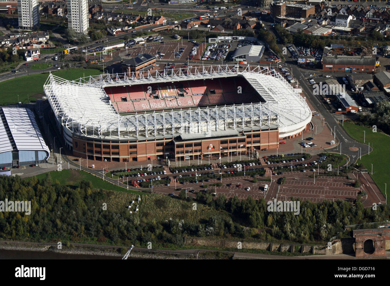 aerial view of The Stadium of Light, home of Sunderland AFC - Stock Image