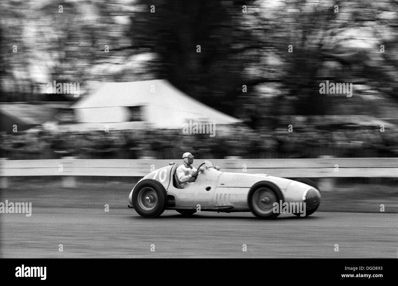 Prince Bira driving an OSCA V12 on it's debut at Goodwood, England, Easter  1951. - Stock Image