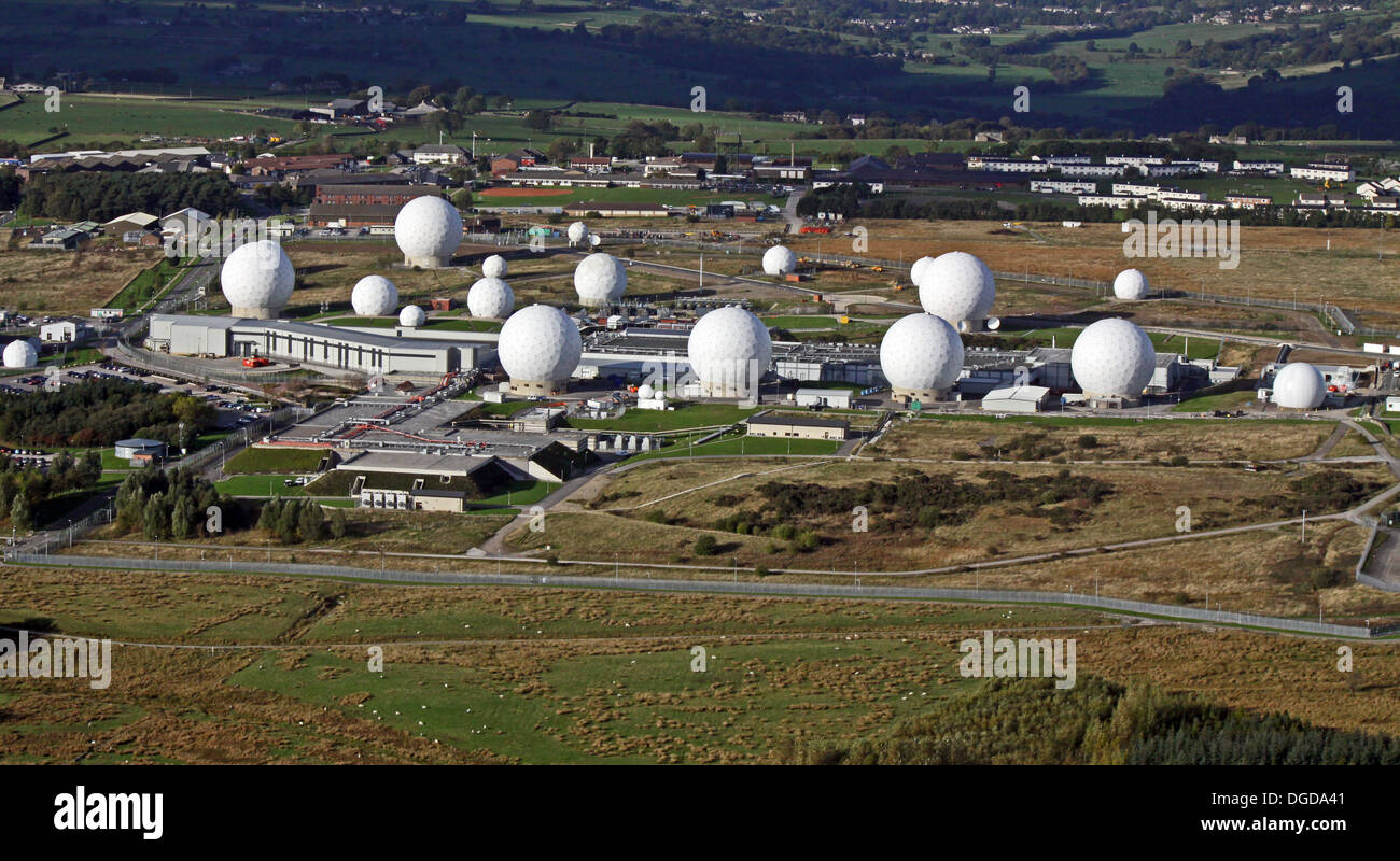 aerial view of the USAF listening station at Menwith Hill near Harrogate, North Yorkshire, UK - Stock Image