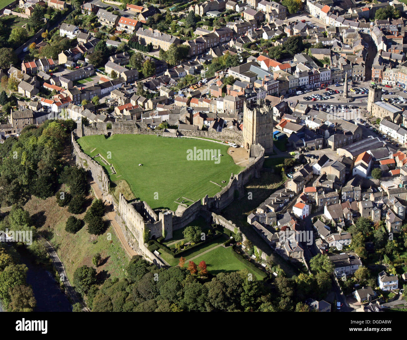 aerial view of Richmond town in North Yorkshire, including the market square and the Castle - Stock Image