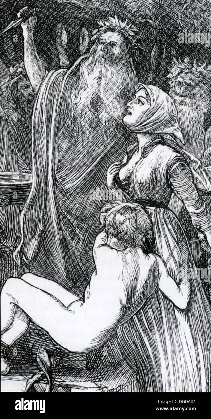 DRUID HUMAN SACRIFICE from a 19th century engraving - Stock Image