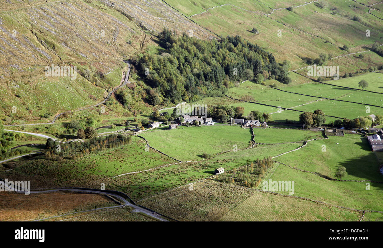 aerial view of a pretty hamlet village in Cumbria - Stock Image