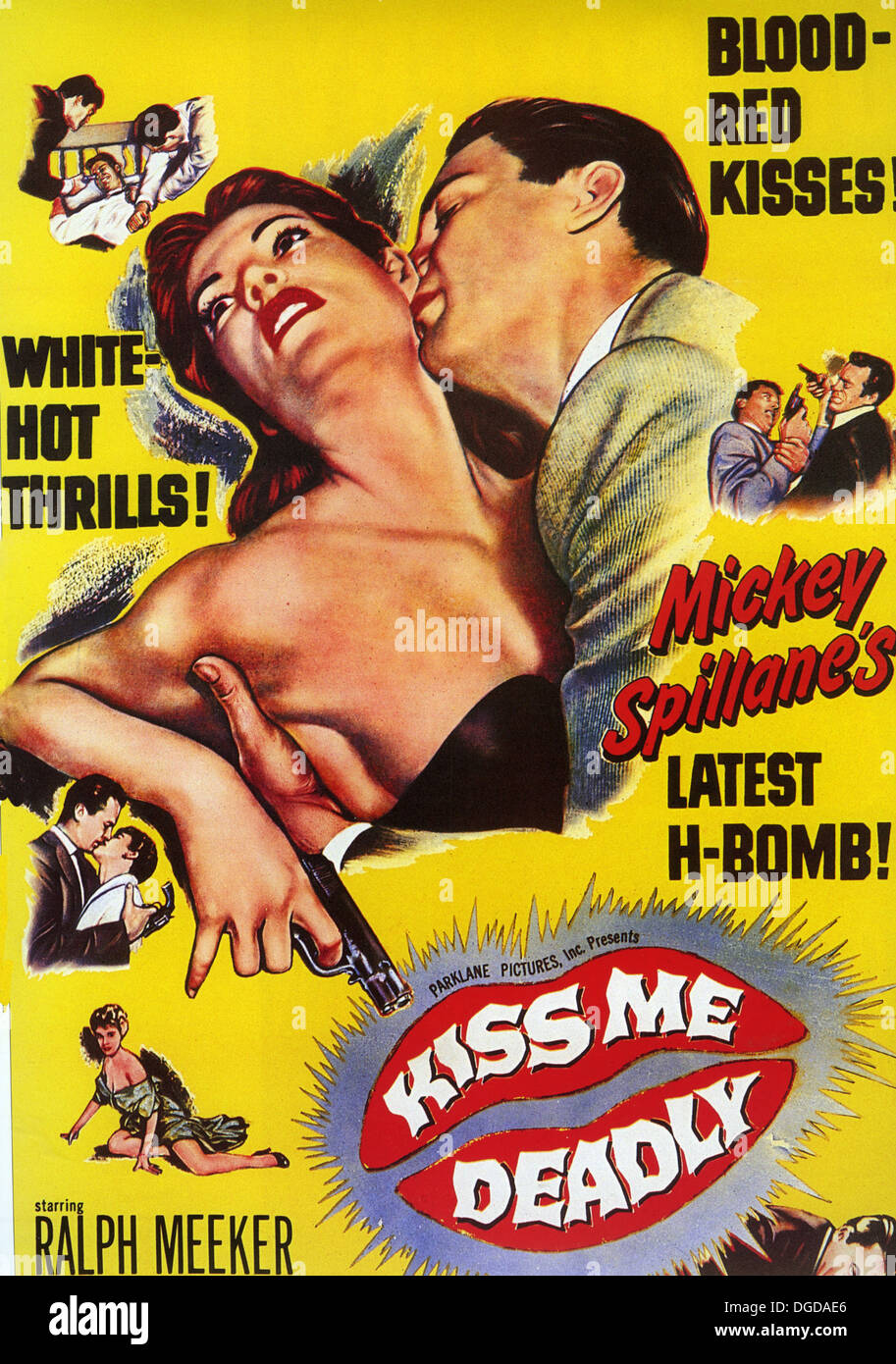 KISS ME DEADLY Poster for  1955 United Artists film noir from the novel by Mickey Spillane - Stock Image