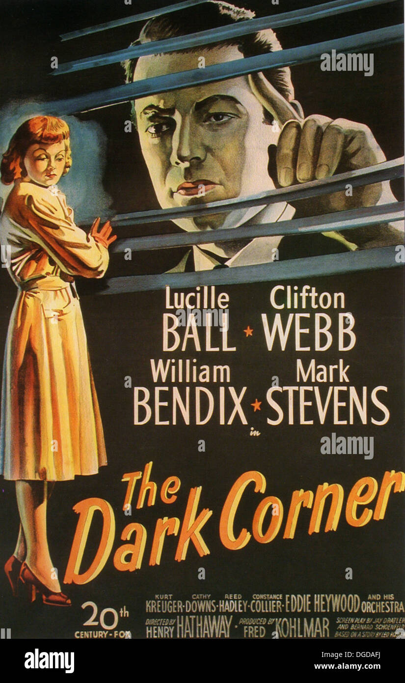 THE DARK CORNER Poster for 1946 20th Century Fox film with Lucille Ball and Clifton Webb - Stock Image